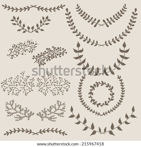 Hand drawn set of wreaths  - stock vector