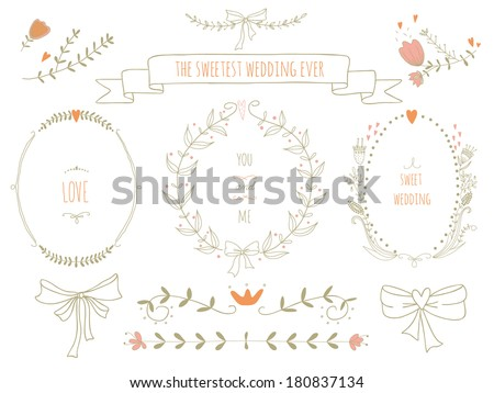 Hand drawn set of wreaths, ribbons, laurel and labels on blackboard. No transparency. No gradients. - stock vector