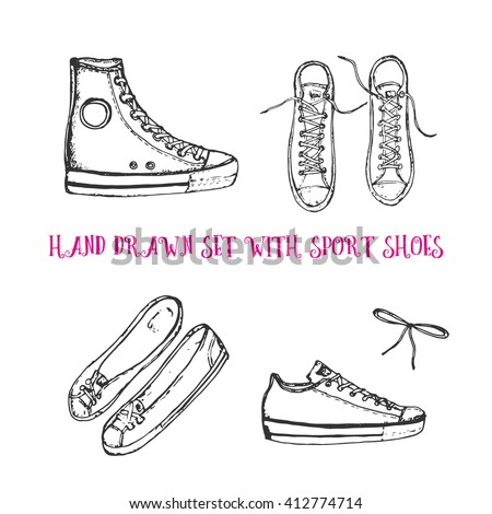 hand drawn set with sport shoes: sneakers, flat shoes, sport shoes, upper view, front view, bow or shoelace. Vector stock illustration for shoe shop. Converse all stars sneakers.  - stock vector