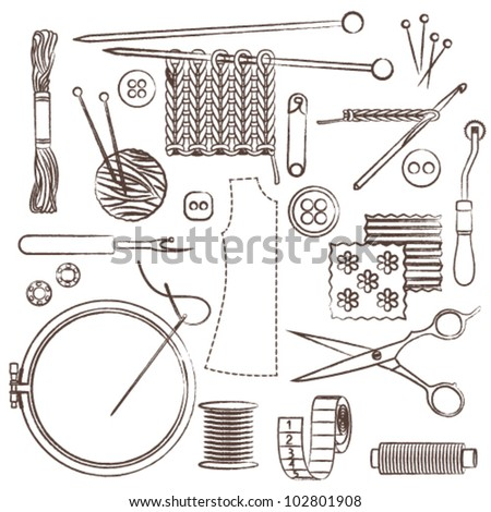 Hand drawn sewing and needlework related symbols - stock vector