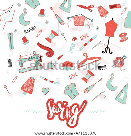 Hand Drawn Sewing Banner Vintage Style Stock Vector 471115370 ...
