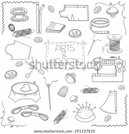Hand drawn sewing set, sewing collection illustration, supplies and accessories for sewing on light background. Vector sewing equipment, arts and crafts