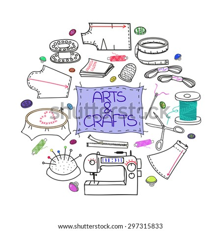 Craft supplies stock vectors images vector art for Sewing and craft supplies