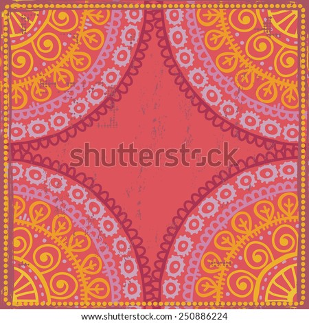 Hand drawn  shabby ethnic frame in red and orange  tones. All objects are conveniently grouped  and are easily editable. - stock vector