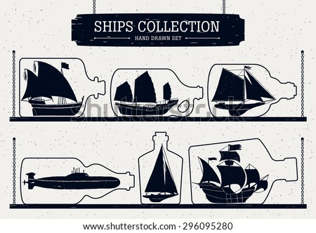 Hand drawn ship silhouettes set  in bottles. - stock vector