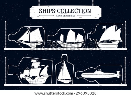 Hand drawn ship silhouettes set on black background in bottles. - stock vector