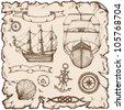 Hand-drawn ships - stock vector