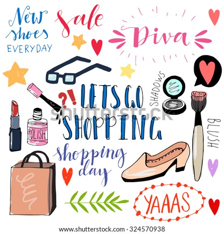 Hand drawn shopping doodle icons. Cute vector illustrations. Funny doodles. Girly shopping icons. - stock vector