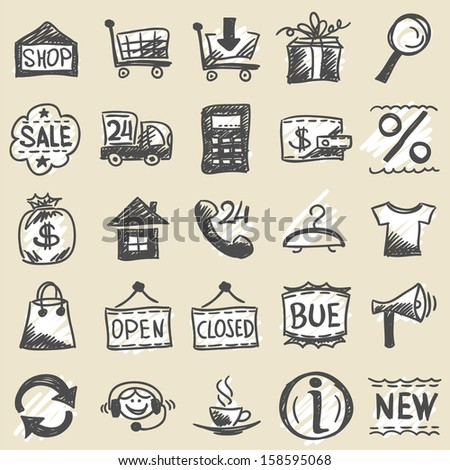 Hand drawn shopping icons - stock vector