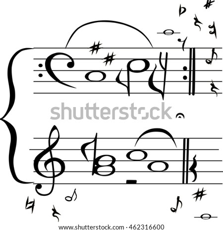 "Hand drawn sign ""Copy book"" in music stave style isolated on white background. Vector"