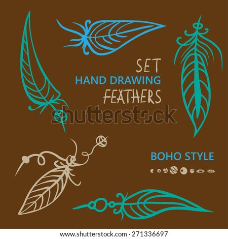 Hand drawn silhouettes of feathers in in different color. Boho style.  Vector illustration. Best for invitations, postcards, textiles, tattoo, logo