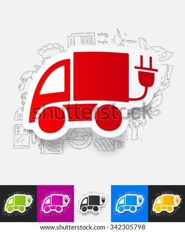 hand drawn simple elements with eco car paper sticker shadow - stock vector