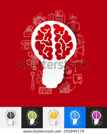 hand drawn simple elements with idea paper sticker shadow - stock vector
