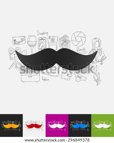 hand drawn simple elements with mustache paper sticker shadow - stock vector