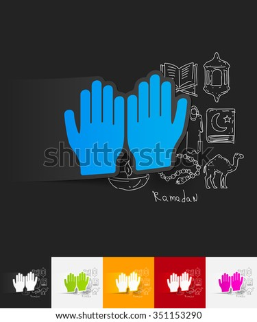 hand drawn simple elements with prayer paper sticker shadow - stock vector