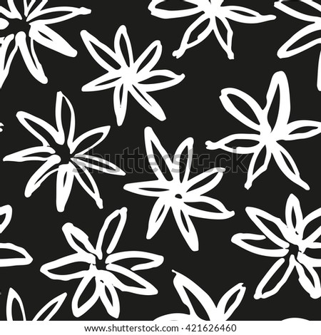 Hand drawn simple flowers pattern - stock vector