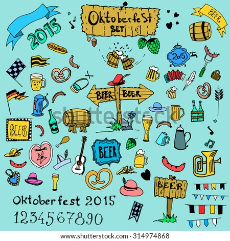 Hand drawn simple oktoberfest doodle set isolated on grey removable background. Beer and brewery. Hat hop sausage beer Can be used for menu, cover, web design, print or as a pattern. Editable vector