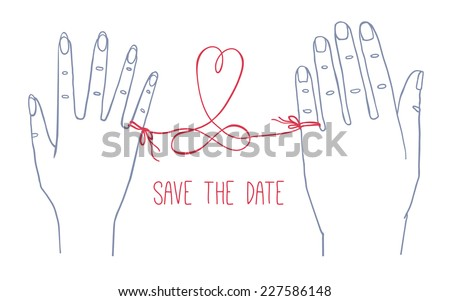 Hand drawn simple Valentine's Day / Wedding card, greetings card, invitation, with male and female hands connected by the red string of fate with heart shape and infinity sign - stock vector