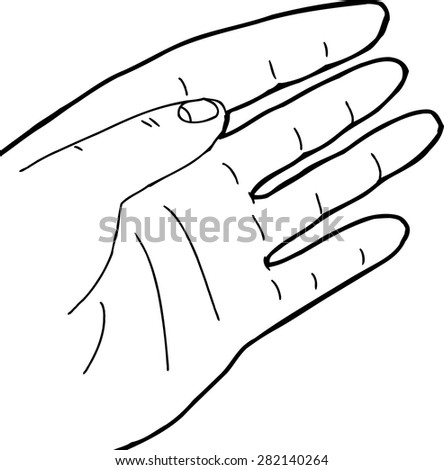 Hand drawn single open left hand cartoon on white