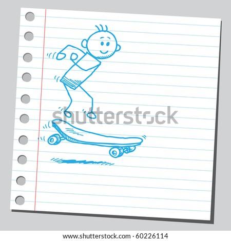 Hand drawn skater - stock vector
