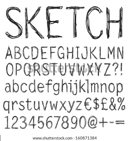 Hand drawn sketch alphabet. Handwritten font. Isolated in white background. Letters, uppercase, lowercase, numbers, digits, symbols set. Vector illustration. - stock vector