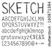 Hand drawn sketch alphabet. Vector illustration. - stock vector