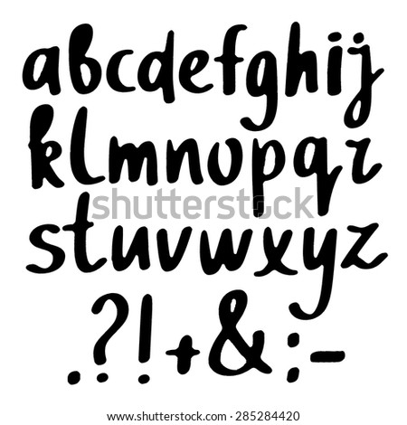 Hand drawn sketch black alphabet, font, letters, signs isolated on white background - stock vector