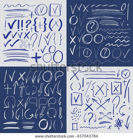 Hand drawn sketch blue marker, brushed signs, arrows, lines, shapes, handwritten, design elements set isolated - stock vector
