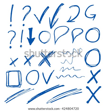 Hand drawn sketch blue marker, brushed signs, arrows, lines, shapes, handwritten, marker design elements set  isolated on white background