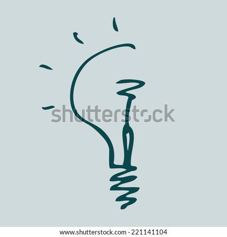 Hand drawn sketch bulb light idea vector illustration. Logo concept. - stock vector