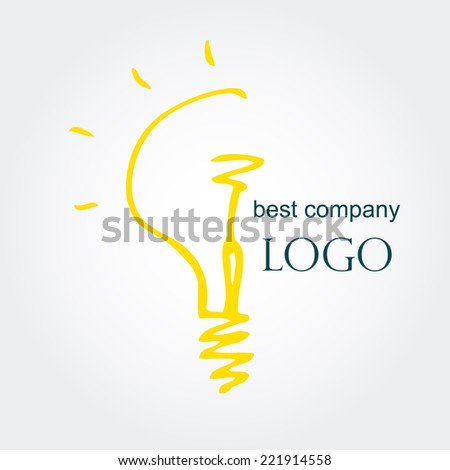 Hand drawn sketch bulb light idea vector illustration. Logo concept. - stock vector