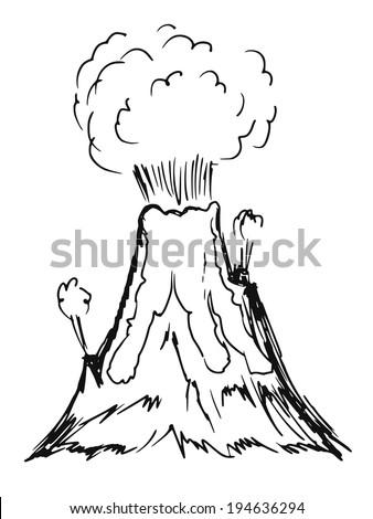 hand drawn, sketch, cartoon illustration of volcano - stock vector