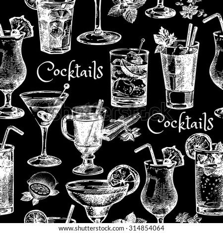 Hand drawn sketch cocktails seamless pattern - stock vector