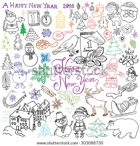 Hand drawn Sketch design of happy new year 2016 Doodles with Lettering set, with christmas trees snowflakes, snowman, deer, santa claus, muffins and festive elements,  Vector Illustration isolated - stock vector