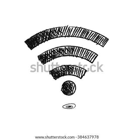 Hand drawn sketch doodle icon wifi. EPS 10.trendy vector illustration - stock vector