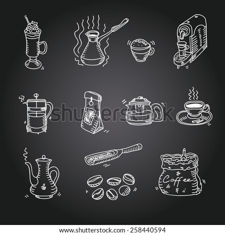 Hand drawn sketch doodle vintage simple coffee theme devices coffeemaking Menu design for cafe and restaurant on black background Vector illustration. - stock vector