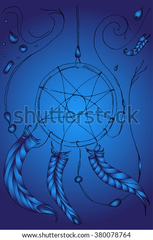 Hand drawn sketch dreamcatcher with ornamental feathers onblue background.