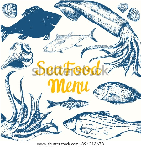 Fresh fish seafood restaurant sketch banner stock vector for White river fish market menu