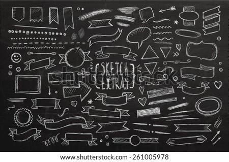 Hand drawn sketch hand drawn elements. Vector chalkboard illustration. - stock vector