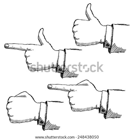 Hand drawn sketch hands set isolated on white background. - stock vector