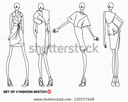 Hand-drawn sketch high fashion model with luxury dress - stock vector