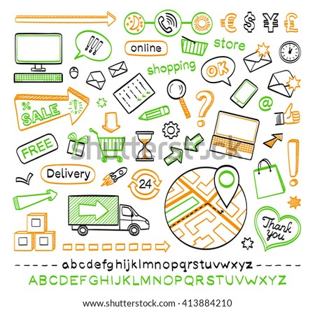 Hand drawn sketch icons. E-commerce. Online shopping. Isolated on white background. - stock vector