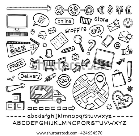 Hand drawn sketch icons set isolated on white background.. E-commerce.  Online shopping. - stock vector