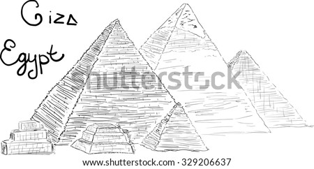 Hand drawn Sketch illustration architecture landmark of Pyramids of Giza, Egypt with lettering vector