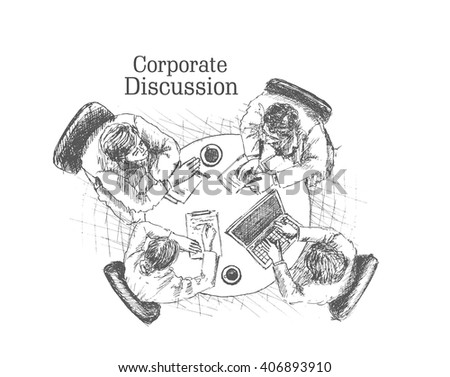 Hand drawn sketch illustration of Businessmen doing Corporate meeting discussion, planning and teamwork. - stock vector