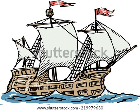hand drawn, sketch illustration of caravel