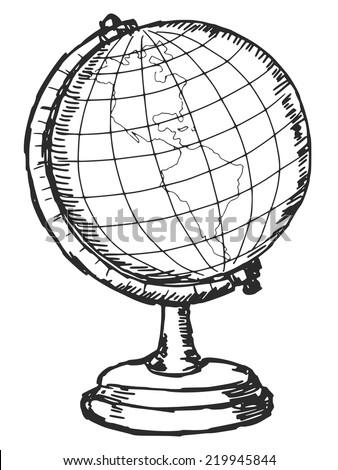 hand drawn, sketch illustration of globe - stock vector