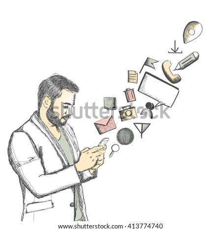 Hand Drawn sketch illustration of handsome young man checking email, chatting, internet browsing, on Mobile against a white background - stock vector