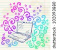 Hand drawn sketch laptop card with colorful rainbow floral swirl elements - stock vector