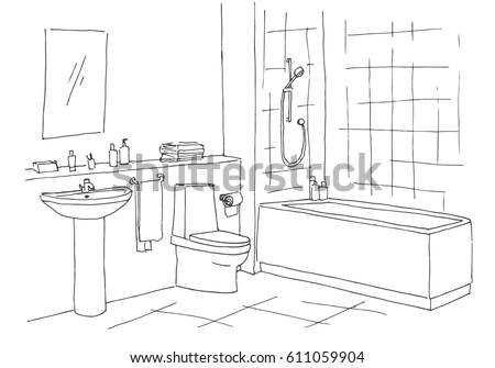 Hand Drawn Sketch Linear Sketch Interior Stock Vector ...